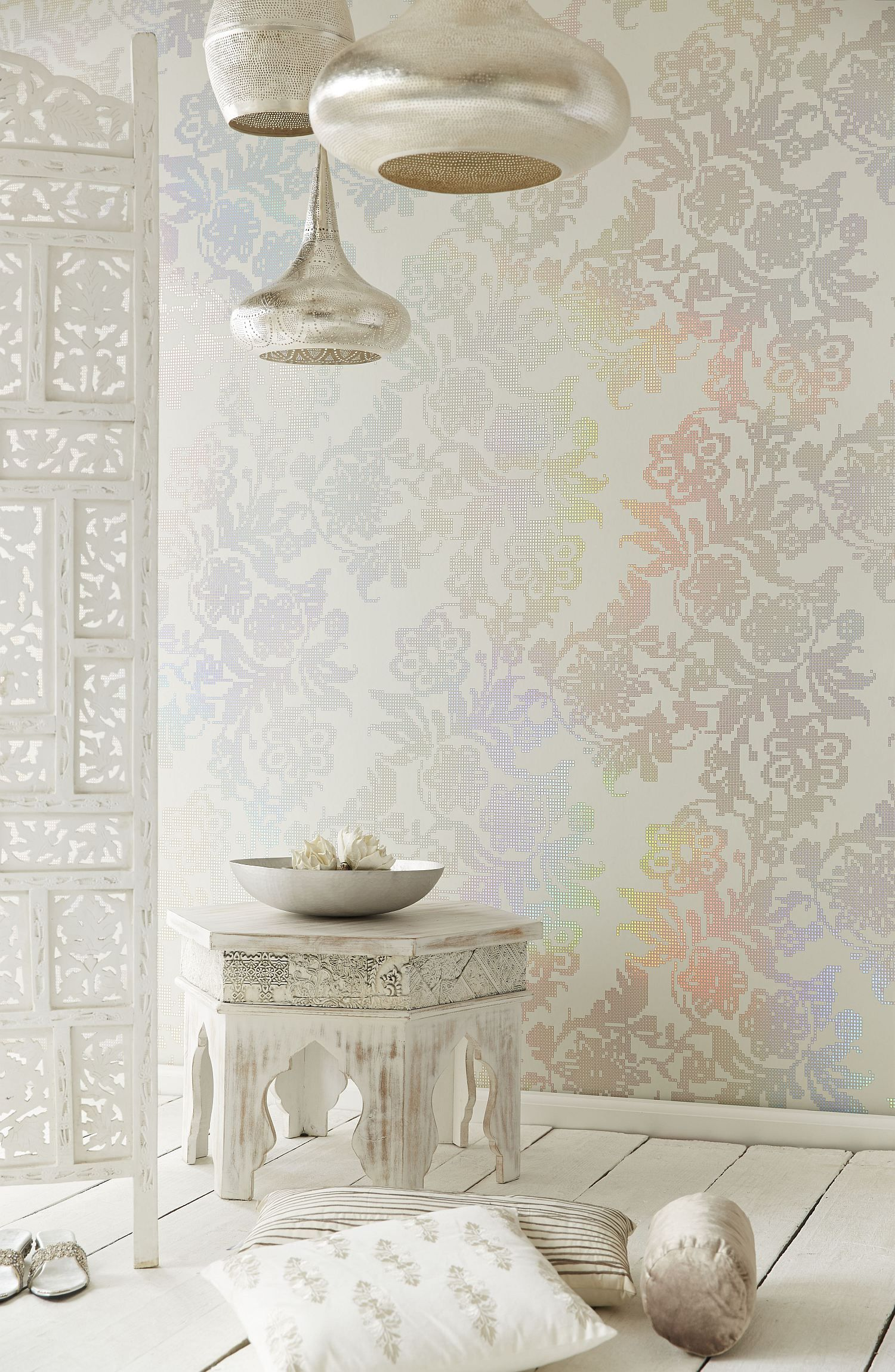 Yasmin holographic wallpaper in home pinterest