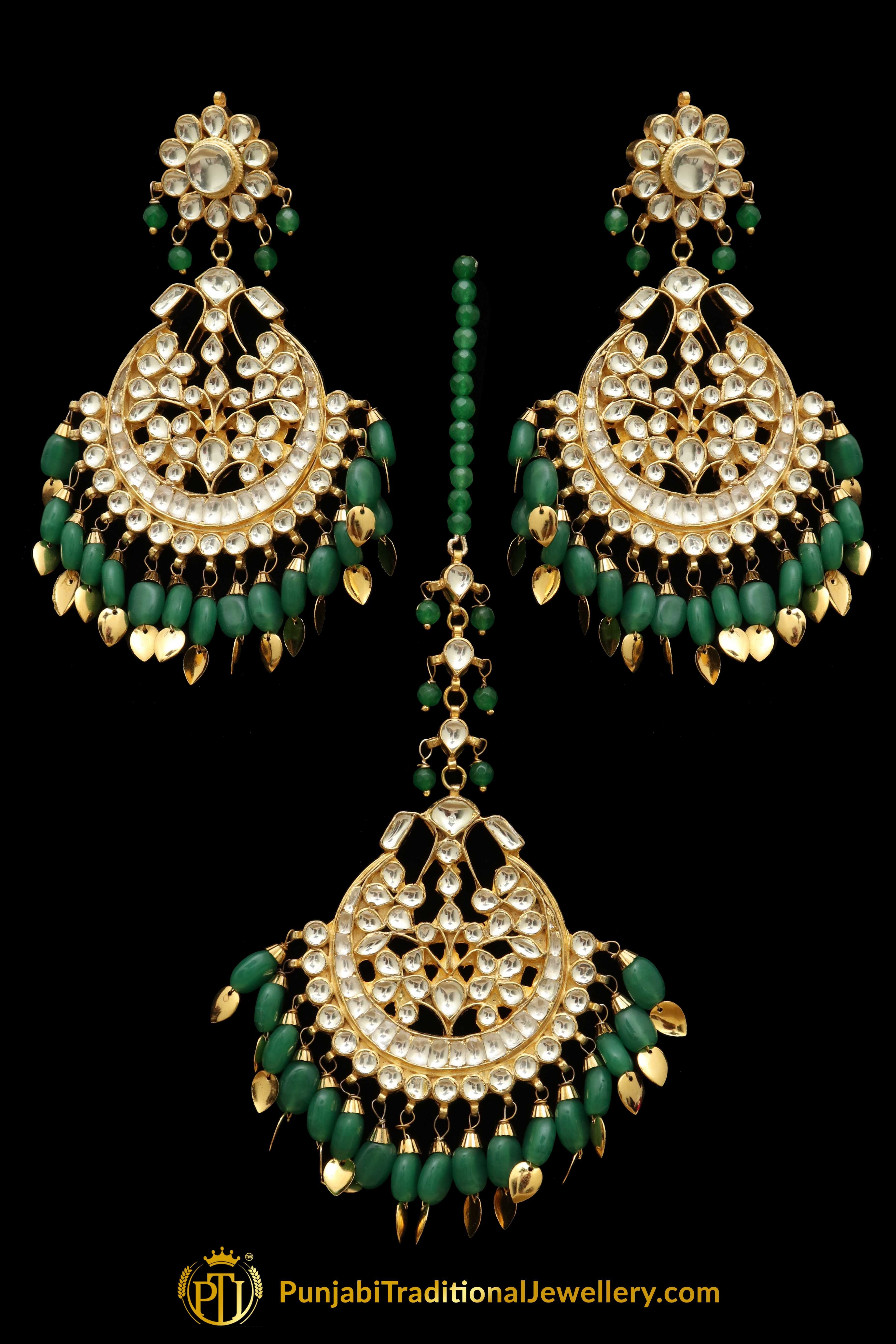 025b9c33c6 Green Kundan Pippal Patti Earring Tikka Set   Punjabi Traditional Jewellery  Exclusive