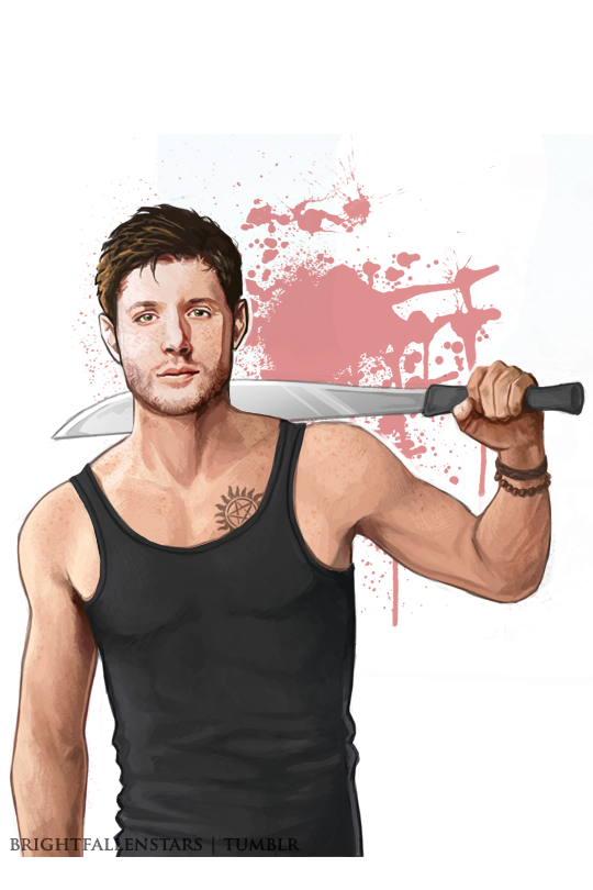 brightfallenstars:My new sidebar image. It's great to be drawing again. I used a flat brush for this whole thing. It was fun! #FanArt #Dean