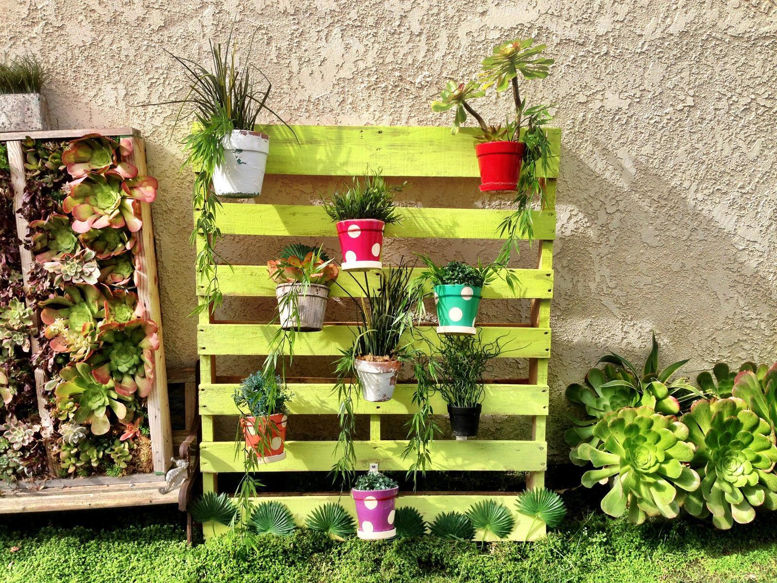 Pleasing To The Palletpallet Garden Painted Pots Of Succulents On Pallet Using Hangapot Hangers