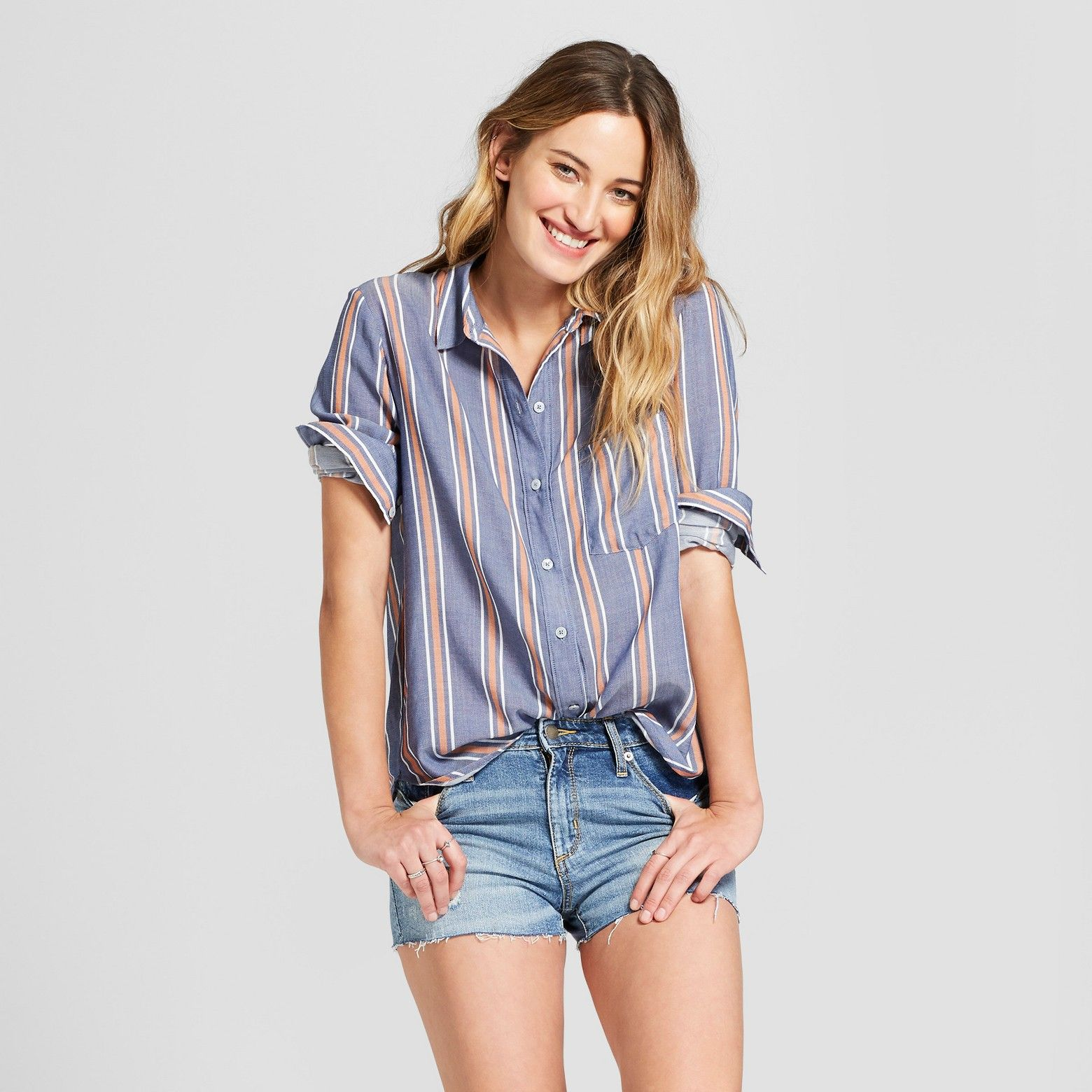 40141dbda695d Women s Long Sleeve Striped Button Down Shirt - Universal Thread™ Blue