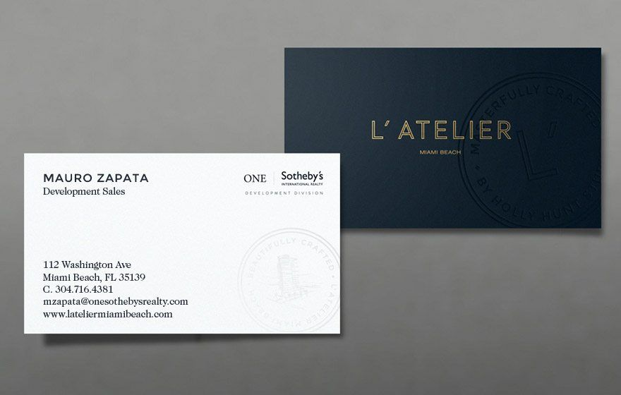 L\'Atelier Miami Beach - Real Estate Business Cards | Br&ing ...