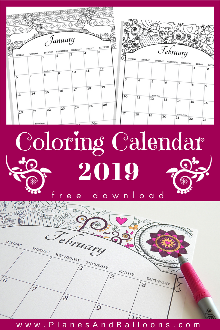 Coloring Calendar 2019 Us Holidays Included Free Download Planes