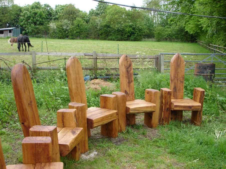 Railway Sleepers Throne Seat Small Garden Design
