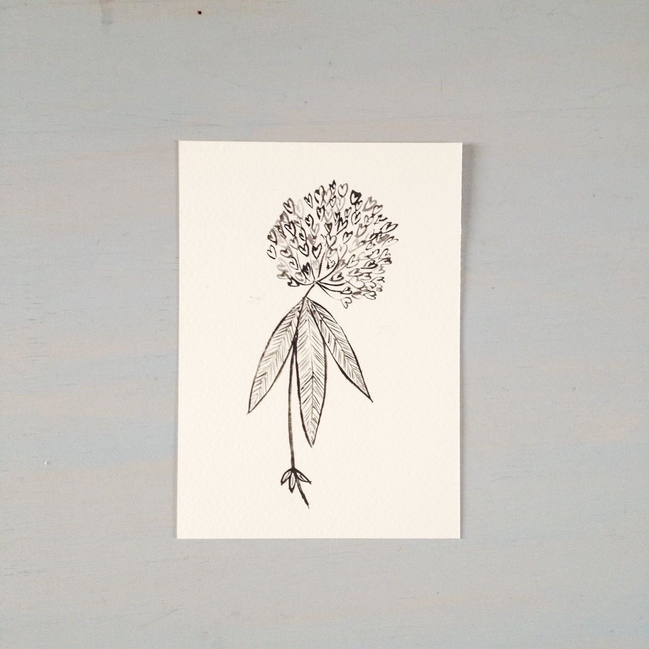 Trifolium medium done in black gouache on a watercolour paper postcardsize A6 10.5x14.8 cm  (4.1inches x 5.8inches)on a watercolour paper postcard (300 gsm acid free)day 34 in the project...