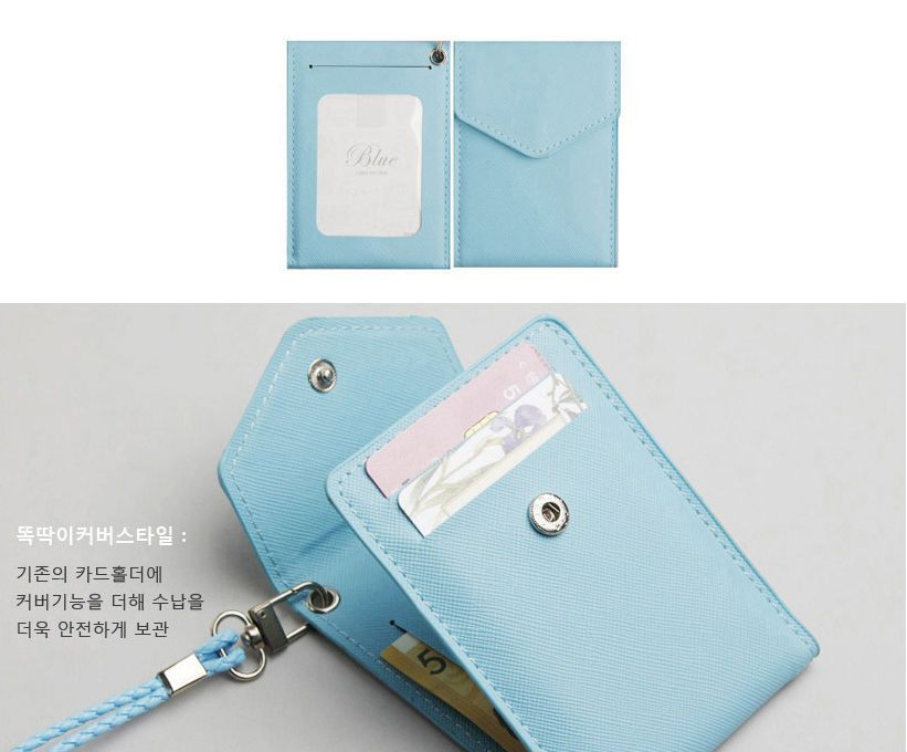 ID Window Business Credit Card Holder Leather Necklace Neck Strap ...