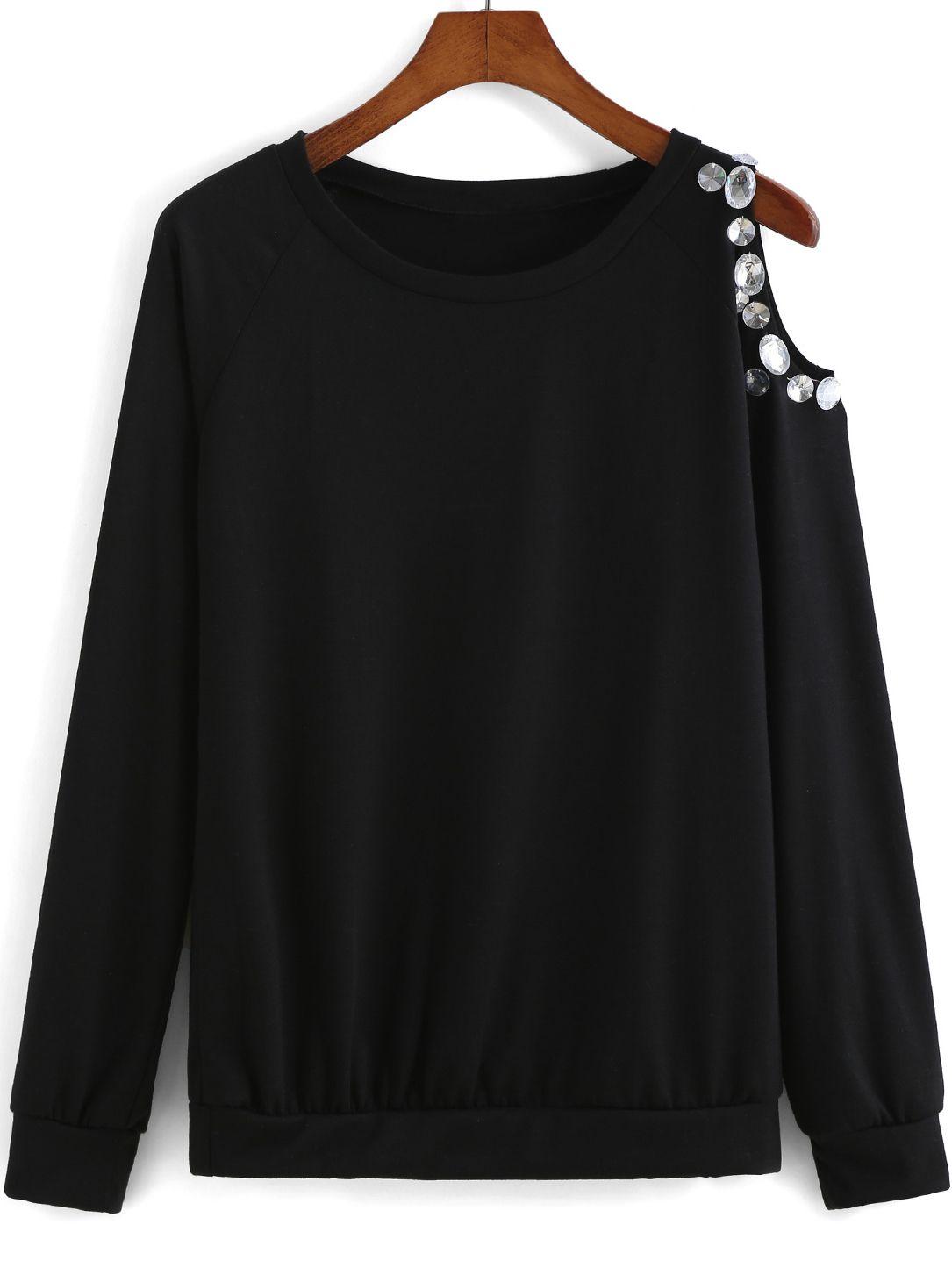 Black round neck oneshoulder rhinestone blouse outfits i want