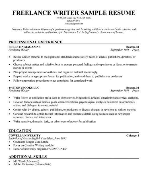 Basic Resume Examples For Free Freelance Writer Resume Resume Writing Examples Resume Writing