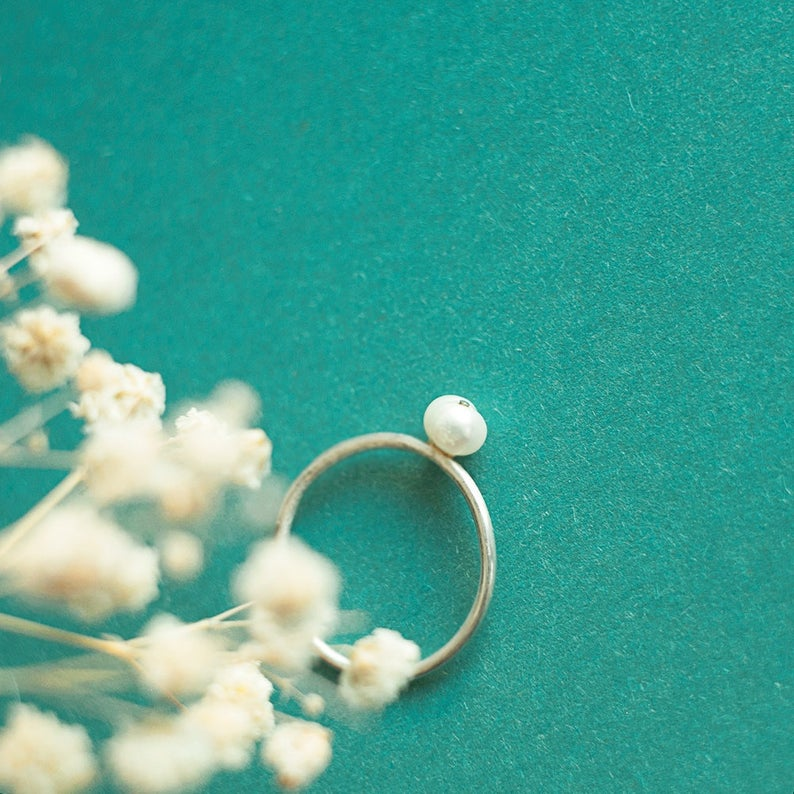 Photo of Dainty pearl jewelry Stacking ring Sterling silver ring Simple silver jewelry Nautical pearl jewelry Organic ring River pearl wedding