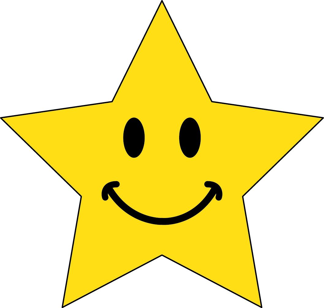 Star smiley. Happy moon clipart smile