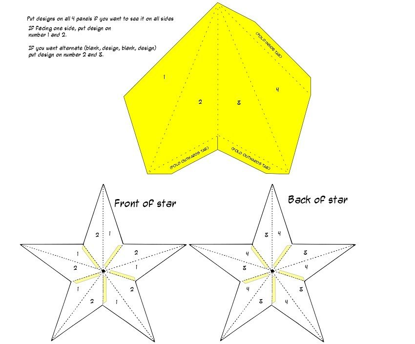 hari raya star template _ guide patterns com_ paper star lantern - paper design template
