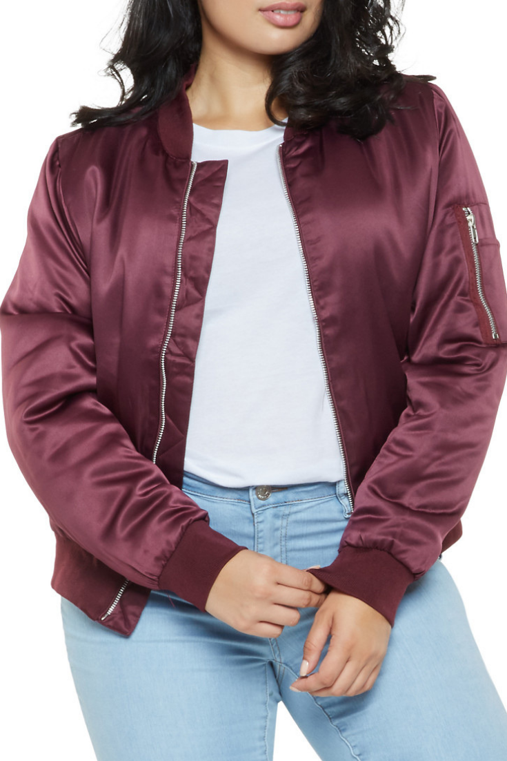 4151fbf1b9373 Stylish plus size satin bomber jacket. Jacket for fall. Plus Size ...