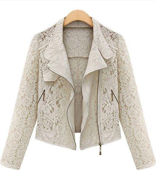 Feminine Chic Ivory Lace Moto Jacket