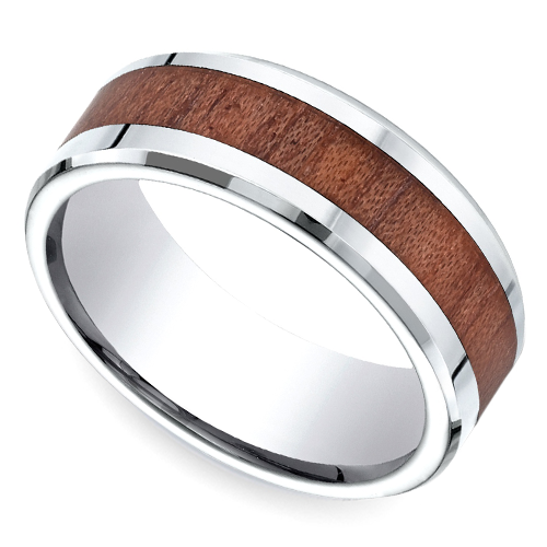 Rosewood Inlay Men's Wedding Ring in Cobalt Wedding