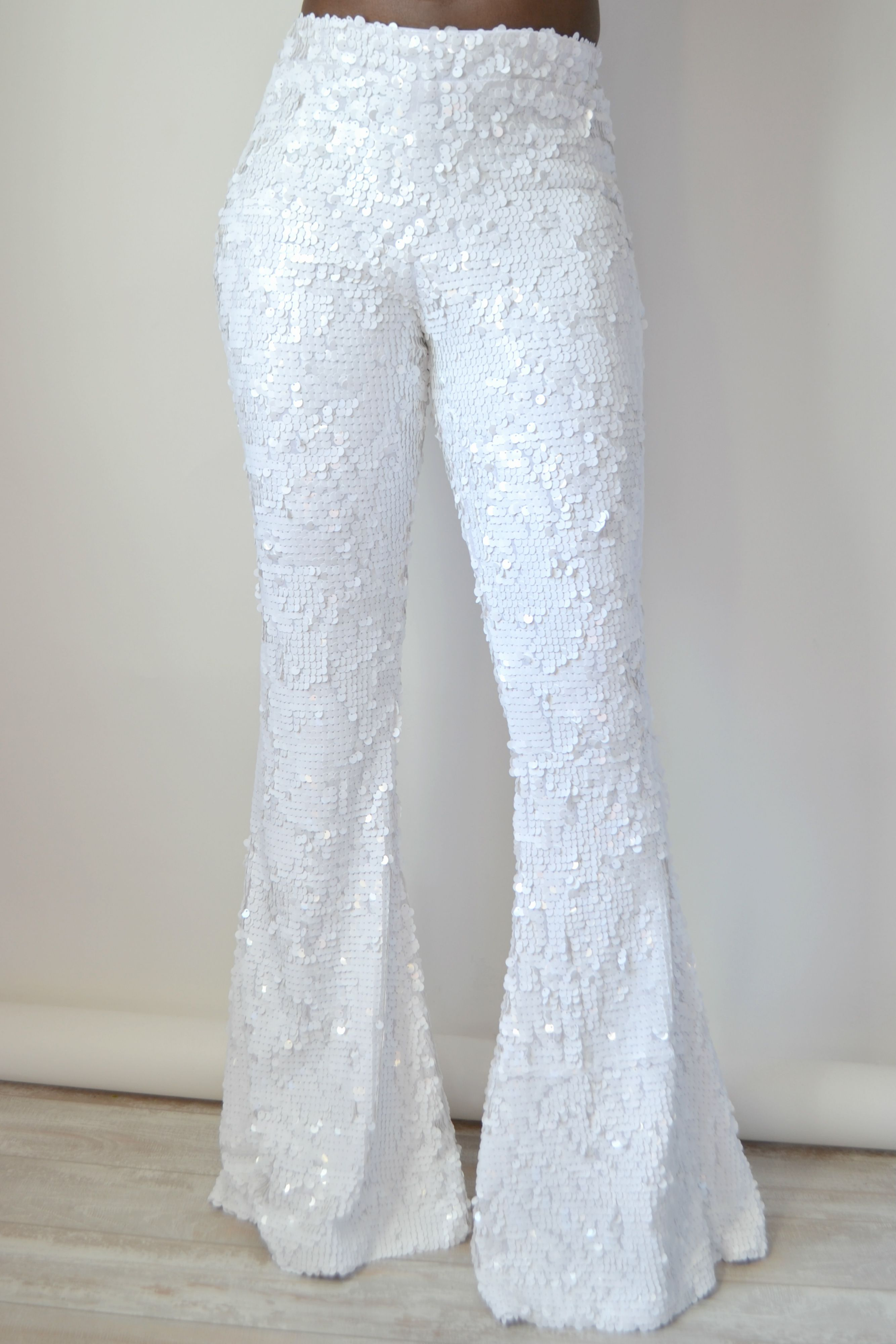 ce3a82629d4f5 White sequin Flare pants By Daniela Tabois