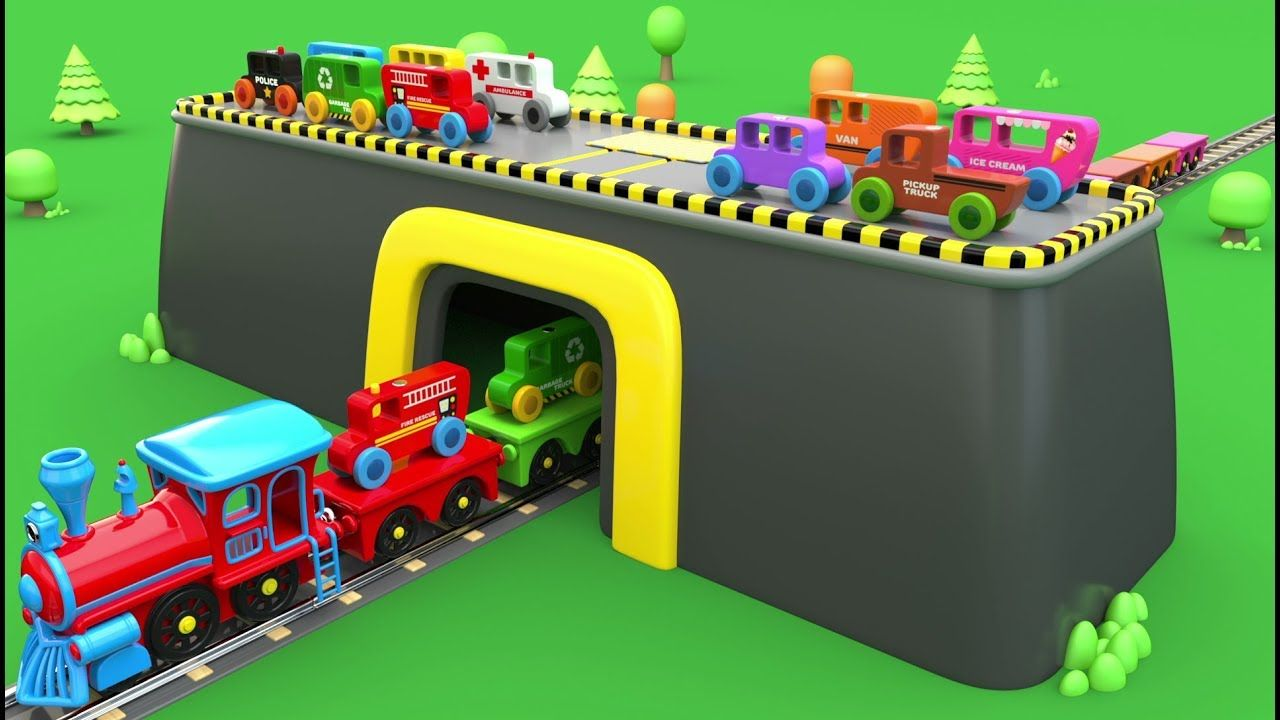Learn Colors with Wooden Street Vehicles Toys and Preschool