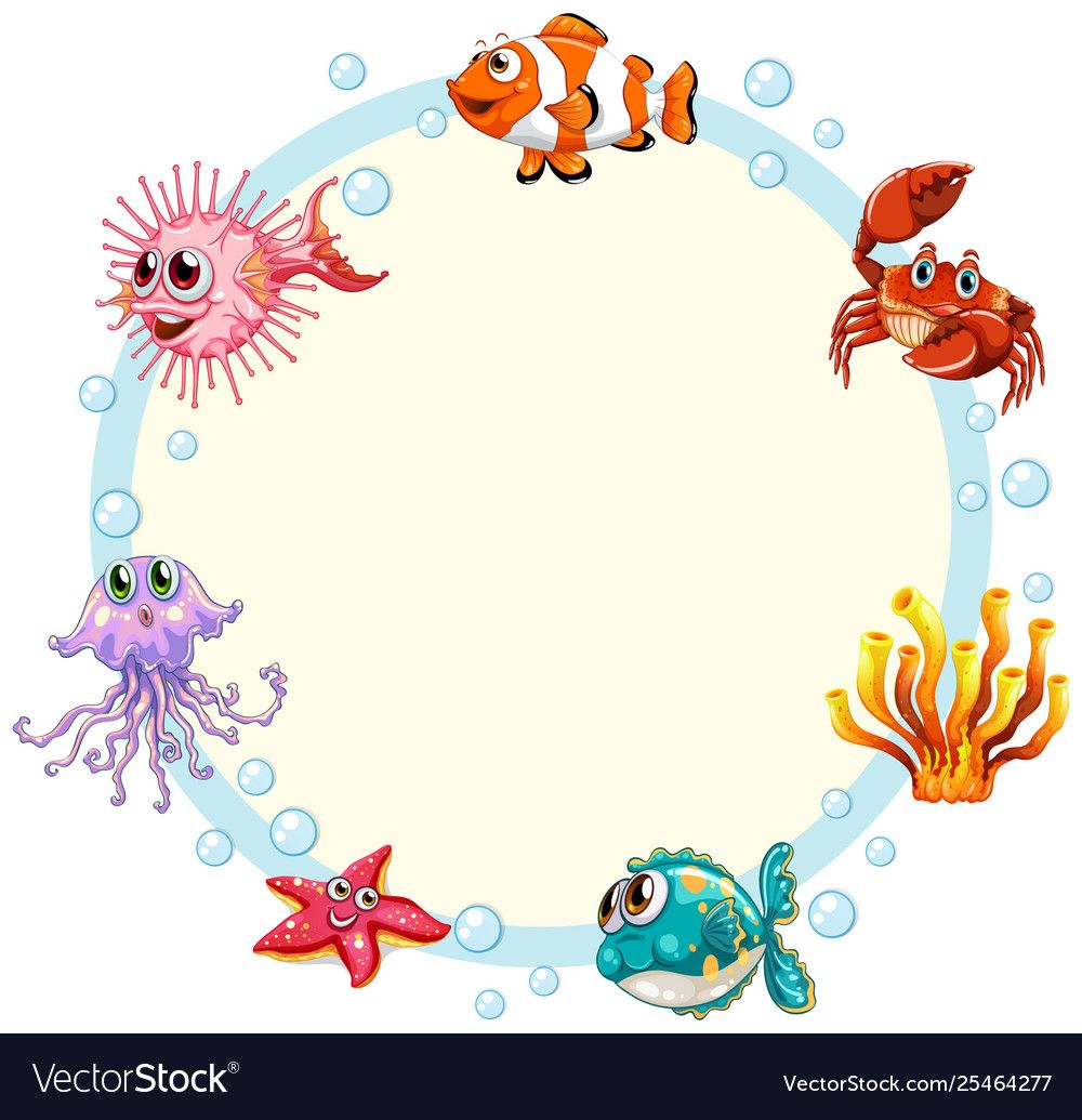 Underwater Creature Border Template Royalty Free Vector Affiliate Border Creature Underwater Template Ad