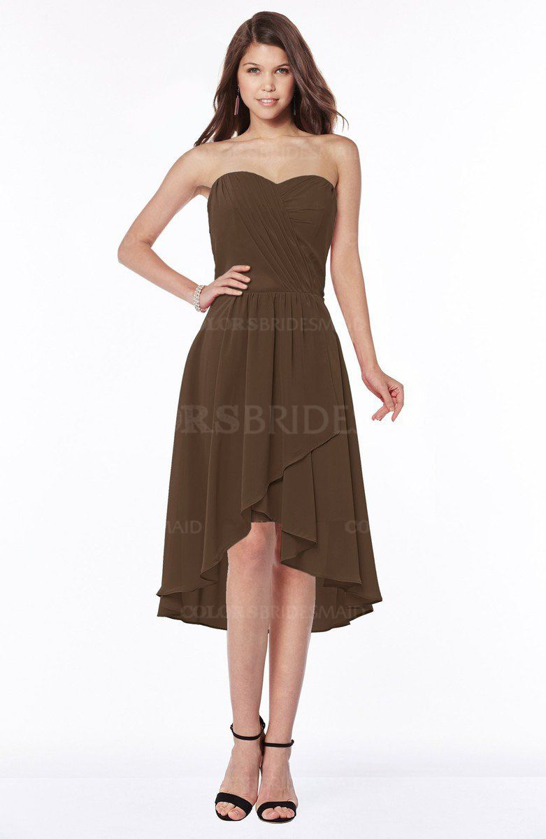 Chocolate brown mature a line strapless chiffon knee length chocolate brown mature a line strapless chiffon knee length ruching bridesmaid dresses ombrellifo Image collections