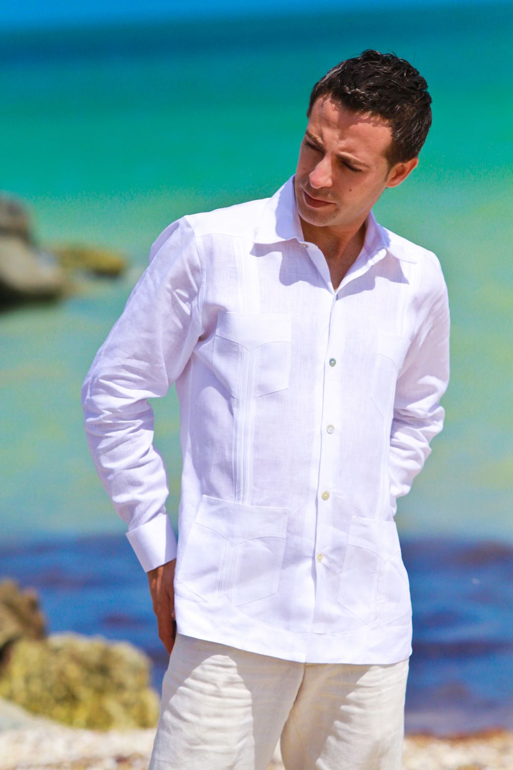Beach Wedding attire for groom - 102 | JK Guayaberas | Beach wedding ...