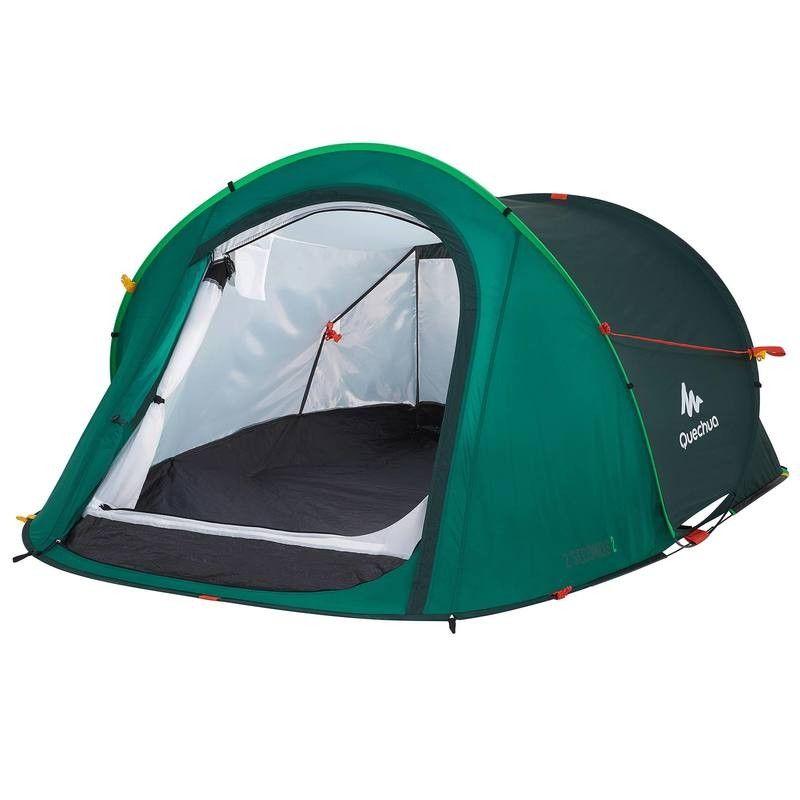 Deportes De Montaña Camping Y Material 2 Seconds 2 Personas Verde Quechua Camping Y Material Tienda De Campaña Articulos Deportivos Acampar En La Playa