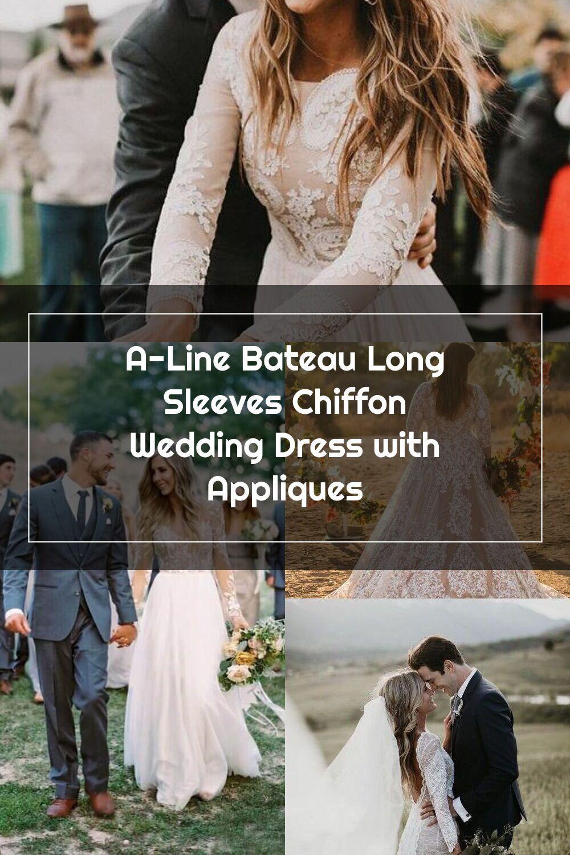 ALine Bateau Long Sleeves Chiffon Wedding Dress with