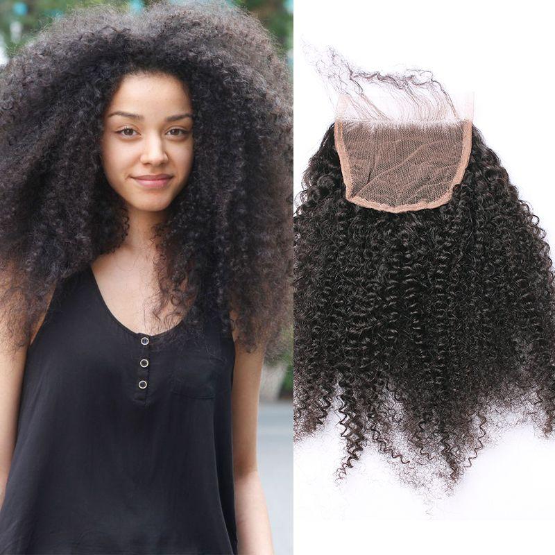 6a mongolo afro crespi capelli ricci chiusura libero/medio/tre 3 disponibile vergine chiusura del merletto dei capelli umani riccio crespo