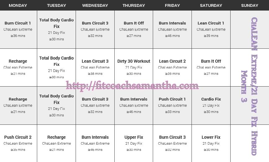 Month 3 of my hybrid 21 Day Fix and Chalean Extreme schedule Why - fitness plan template
