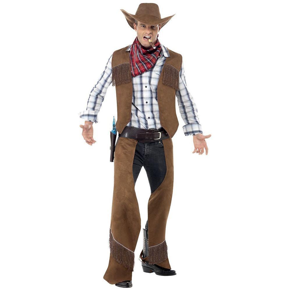 Adult Wild West Cowboy Black Waistcoat 2 Sizes Fancy Dress Outfit