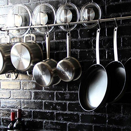 Kitchen Professional Chef Rack Storage Wall Mount Rail Utensil Hanging Pot Pan Home Amp Garden Kitchen Dinin Kitchen Wall Storage Hanging Pots Pot Hanger