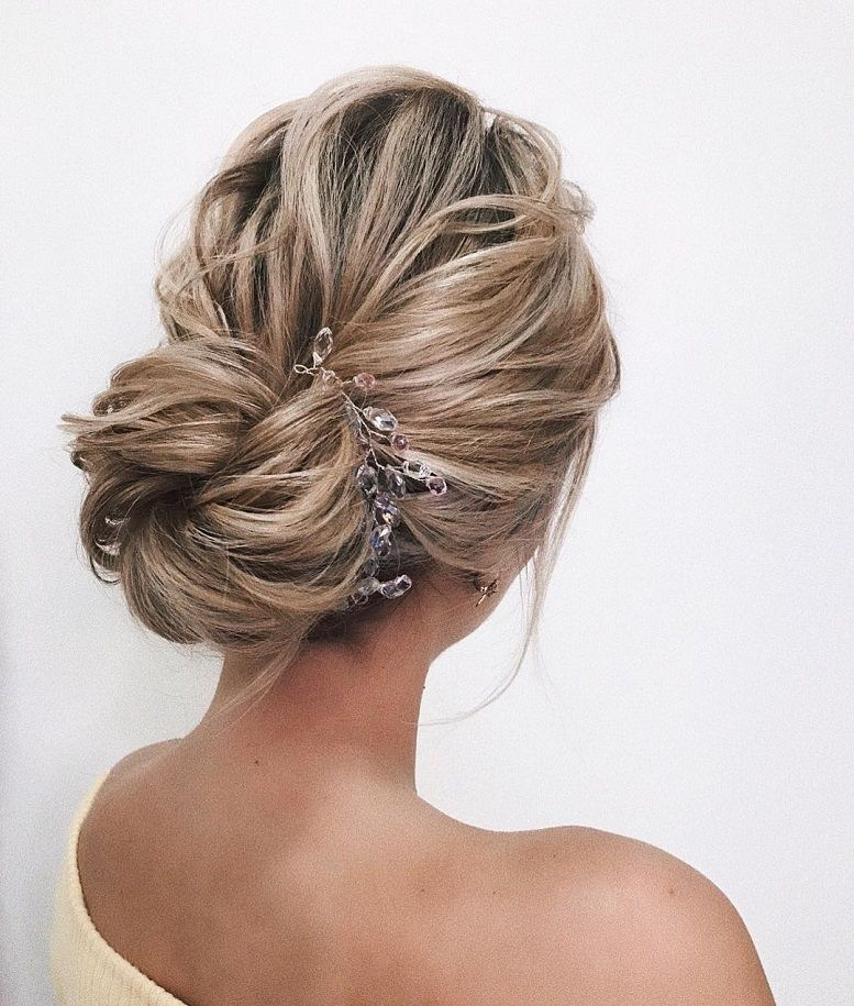 Gorgeous wedding hairstyles perfect for every season #hairstyle #updo #weddinghair wedding hair, messy updo, swept back hairstyle , bridal hair
