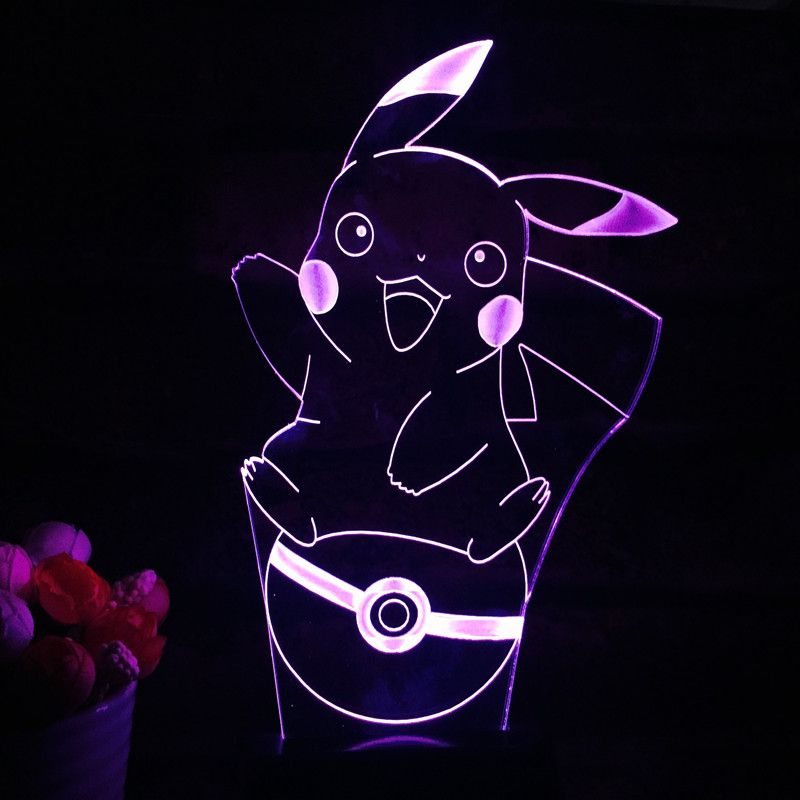 Pokemon Go Pikachu 7 Led Color Table Lamp The World Of Pokemon Go Color Changing Lamp Pokemon Pokemon Light
