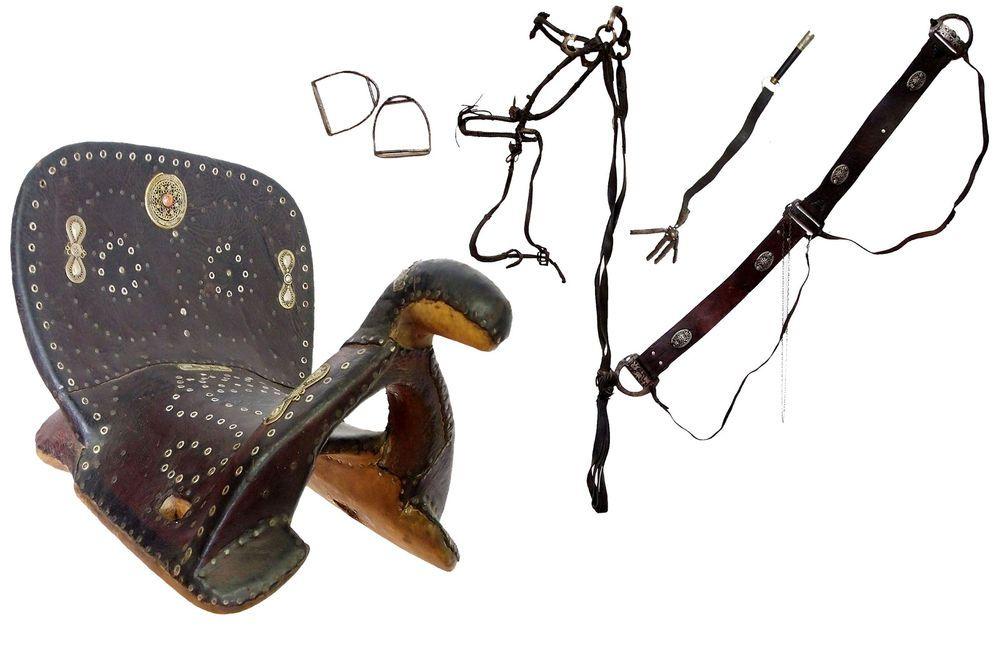 antik Orient Turkmen Pferdesattel Sattel mit Zaumzeug (Bridl) Horse Saddle A