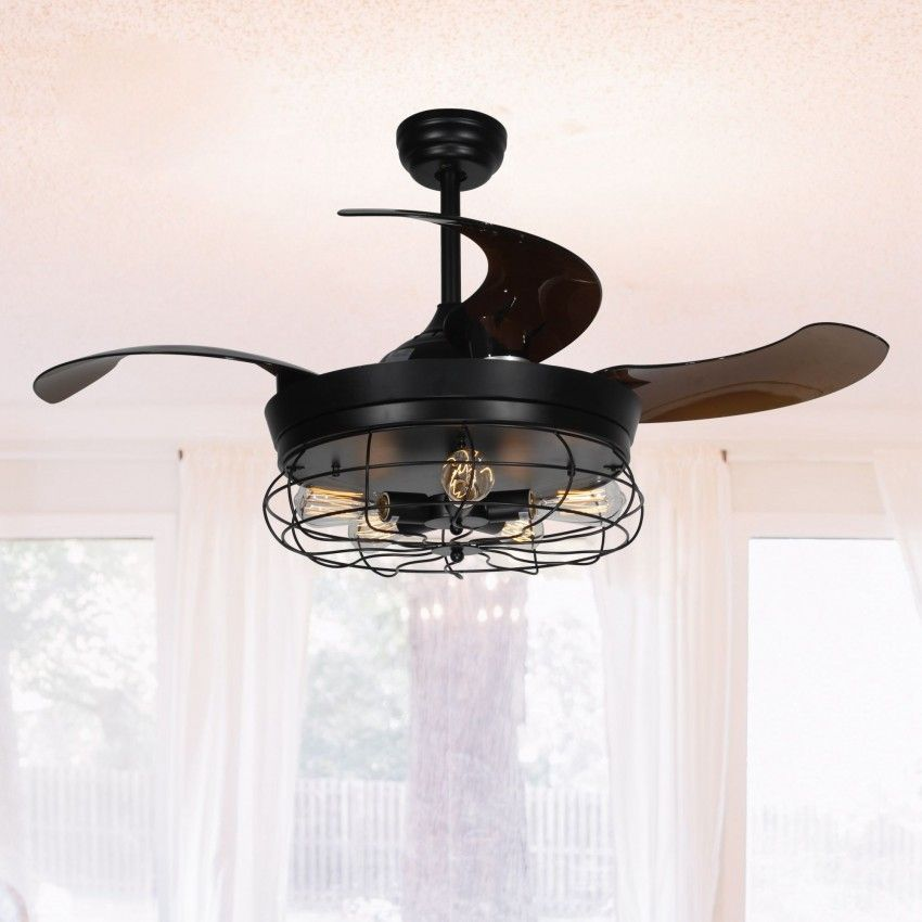 46 Benally Industrial Cage Retractable Ceiling Fan With Lights And Remote Control Black Ceiling Fan Chandelier Ceiling Fan With Light Ceiling Fan
