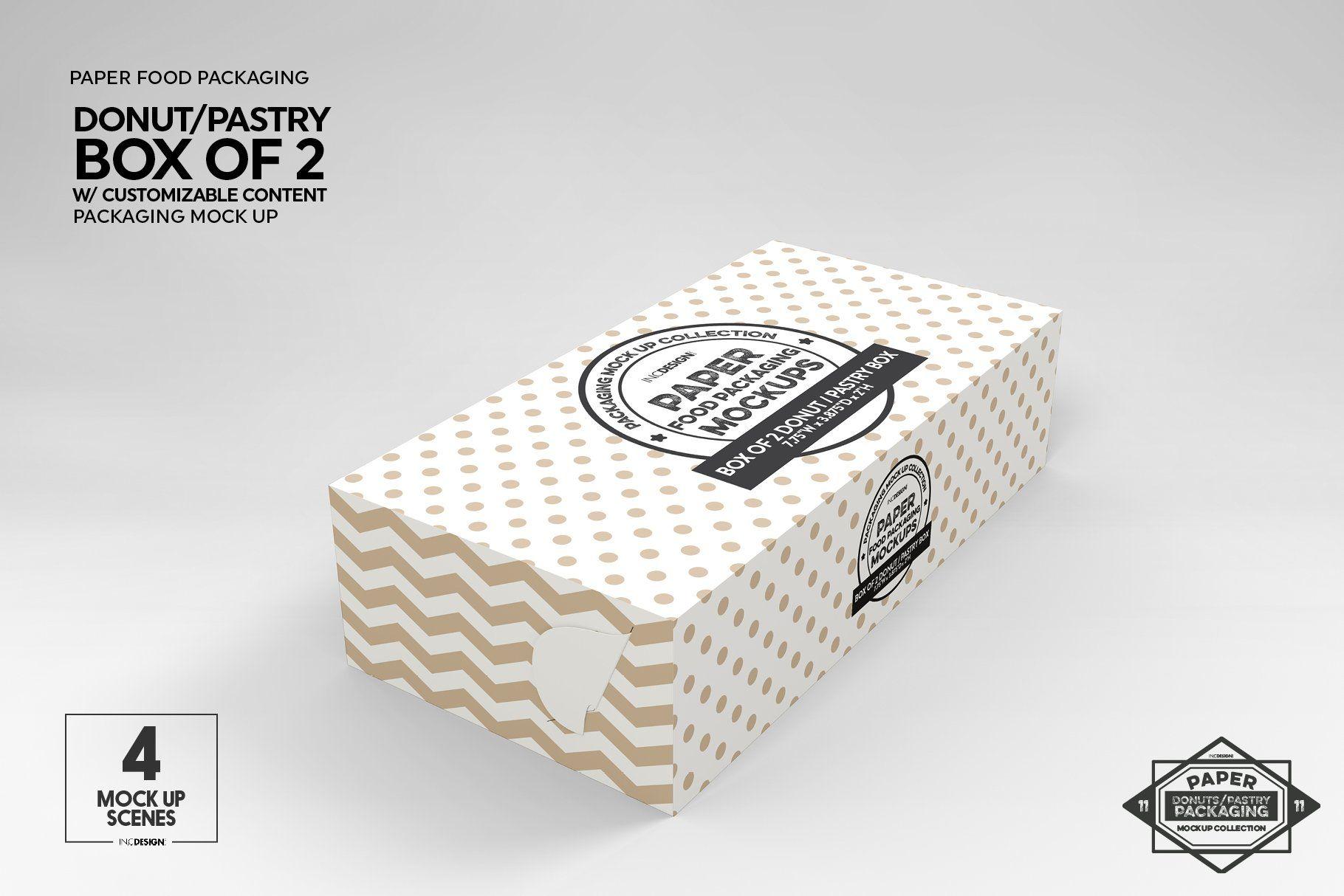 Download Box of Two Donut Pastry Box Mockup | Box mockup, Box ...