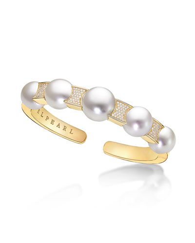 Belpearl 18k Yellow Gold South Sea Pearl & Pave Diamond Ring, 10mm, Size 6.5
