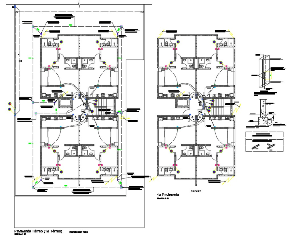 Residence House Electrical Wiring Layout Architecture Plan