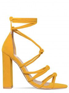 b5f1fa5ea99 Alicia Yellow Suede Knot Lace Up Block Heels