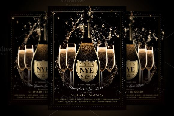 NYE New Year Flyer - Champagne Night by Ade Concept on - new year brochure template