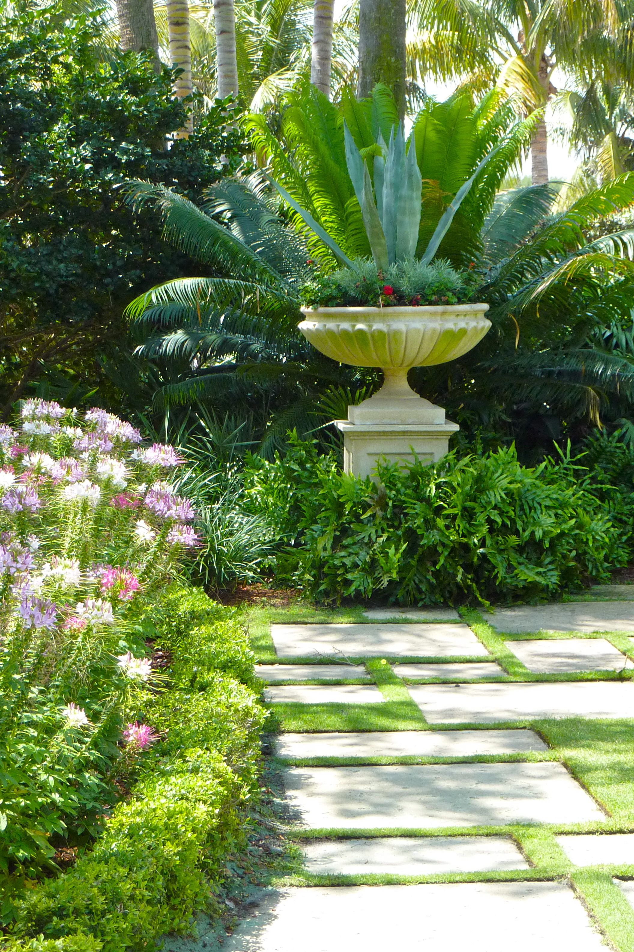 garden path and urn | Gardening and Gardens: Container Inspiration on garden with birdbath, garden with potted plants, garden with arches, garden with pots, garden with sculptures,