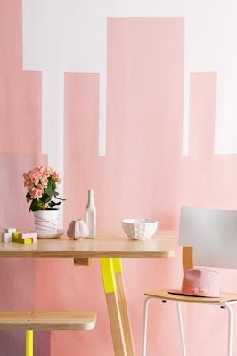 Pale peach + sunny yellow + timber - great combo of trendy shades