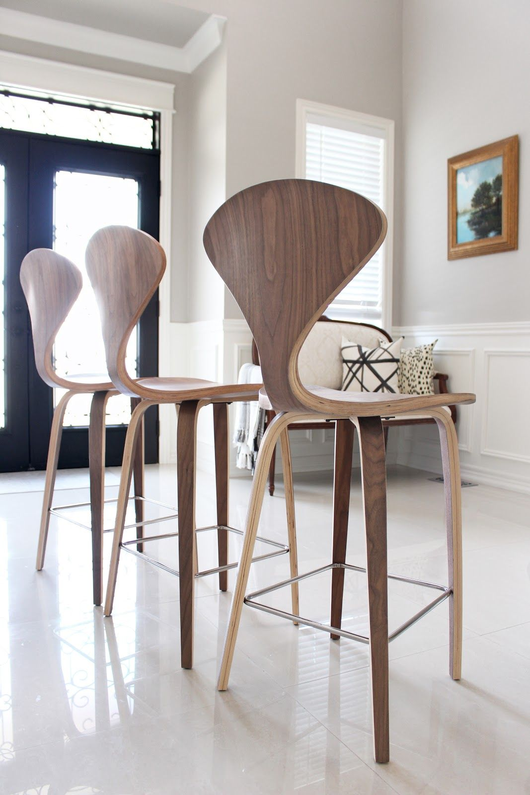 Norman Cherner Style Counter Stools In Walnut From Rove Concepts