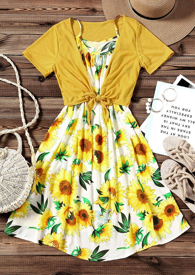 Sunflower Spaghetti Strap Casual Dress With Coat Yellow Dress Casual Casual Dresses Casual Dress [ 1058 x 750 Pixel ]