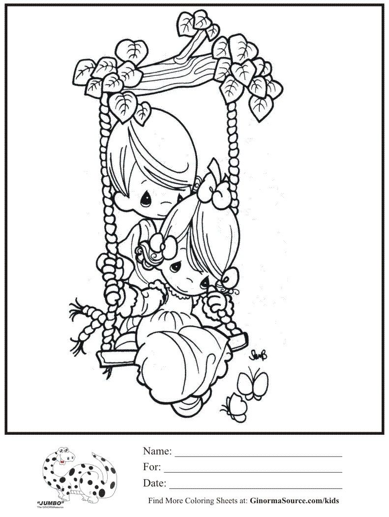 Kids Coloring Page Boy Girl Swing Precious Moments Coloring Sheet