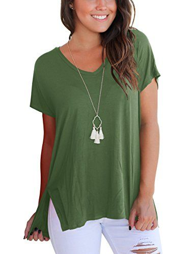 8bb381781 Discounted Aokosor T Shirts For Teen Girls Short Sleeve Basic Tees Casual  Summer Tops Army Green S