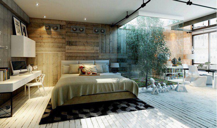 Chambre Cocooning Avec Lambris Bois, Lit Deux Places Et Ciel Ouvert Avec  Arbre àu2026