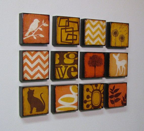Rust Painted Leaves Wood Art Block For Wall or Mantle by MatchBlox, $29.00