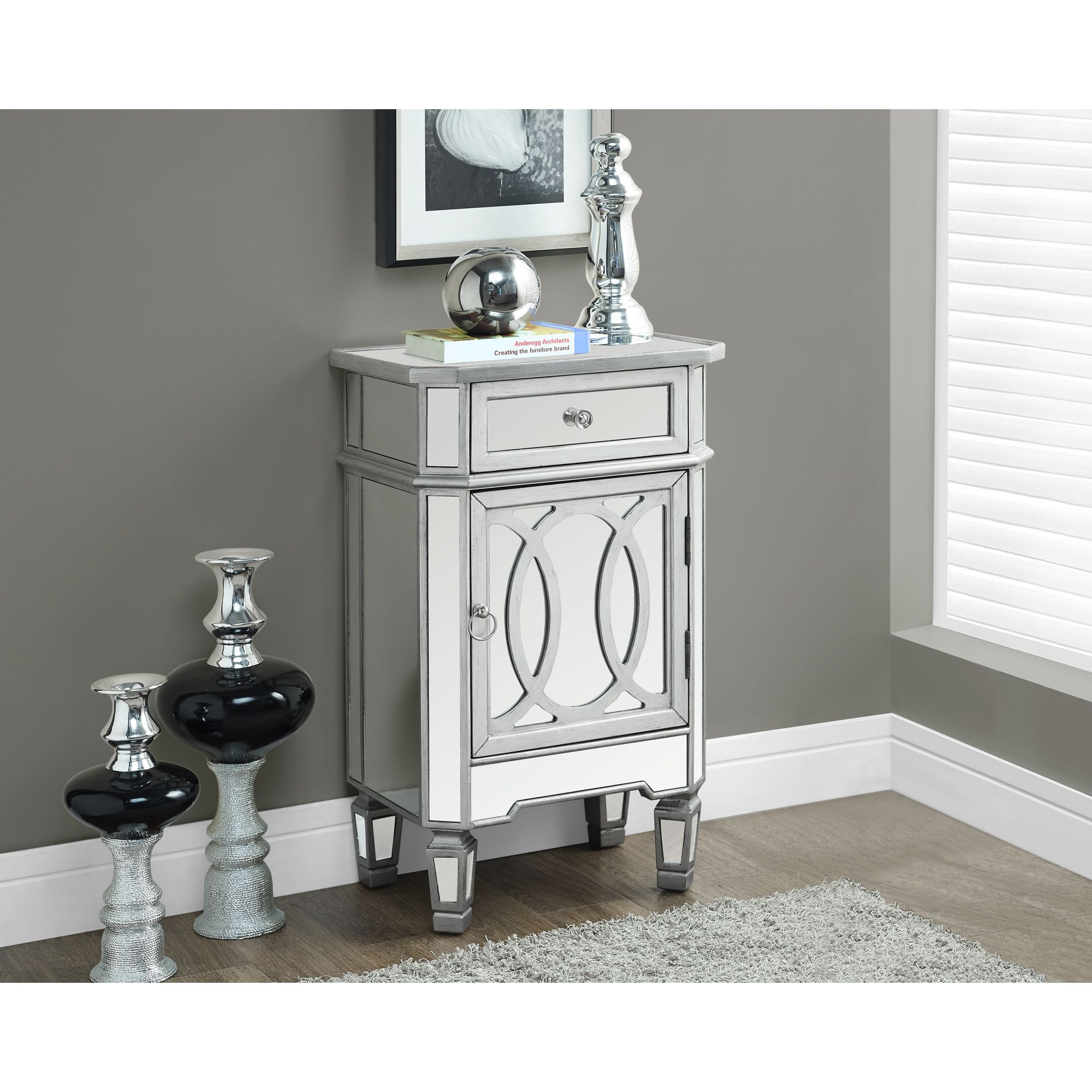 Mirrored Brushed Silver Accent Table Ping Great Deals On Coffee Sofa End Tables