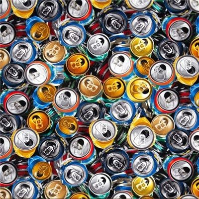 Beer Can Fabric Soda Pop Fabric Tin Can Fabric Aluminum Can Fabric Roadside Litter Fabric Can Recycling Fabric 100/% Cotton BTY or HY