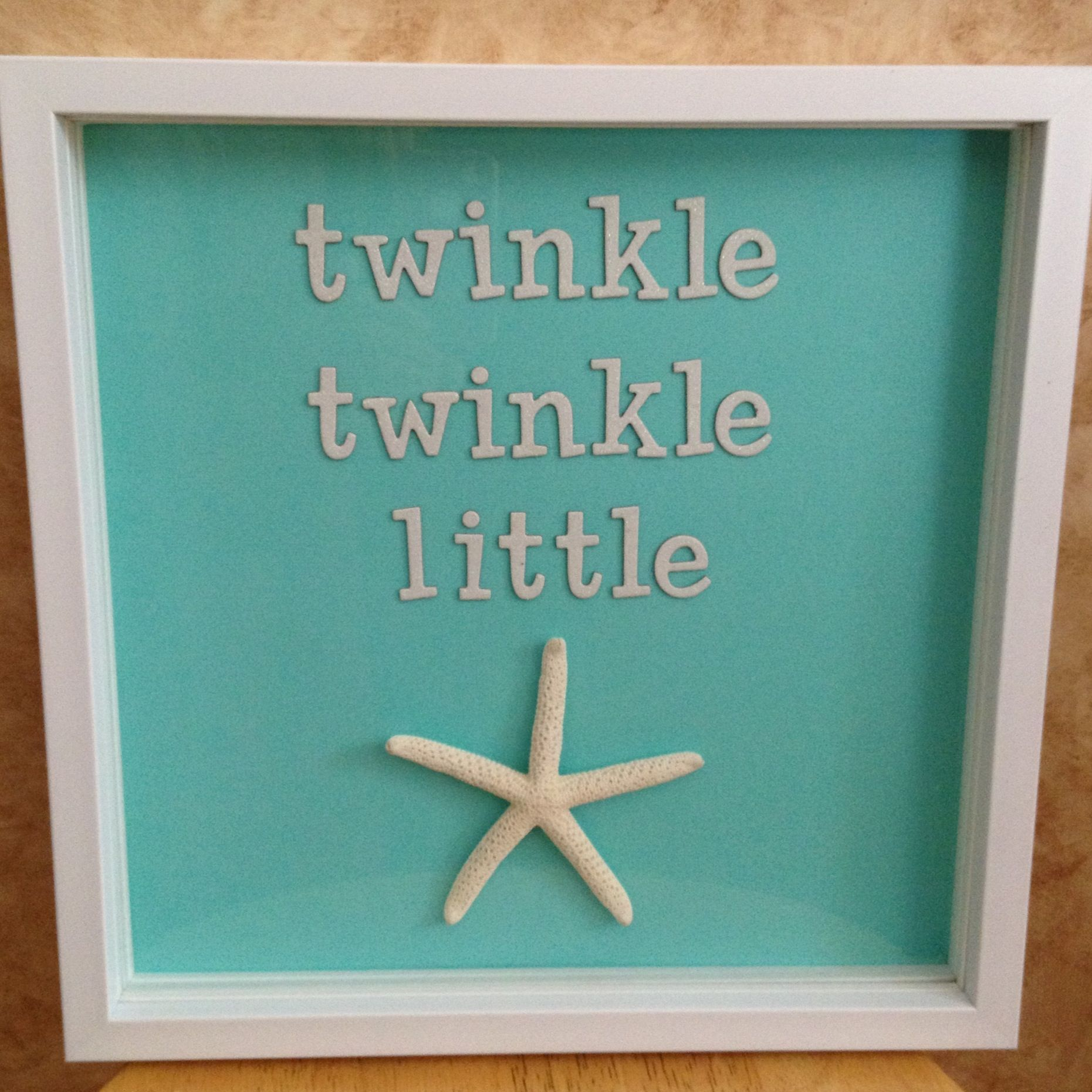 Beach Theme Home Decor Shadow Box Beach Gift: Twinkle Twinkle Little (starfish) Shadow Box Sign, Beach