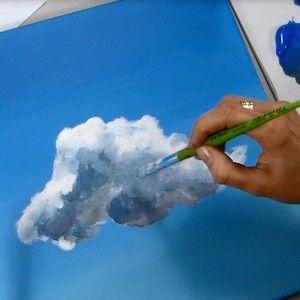 Ac12 peindre des nuages l 39 acrylique acrylique pinterest acryliques nuage et peindre - Peindre a l acrylique ...